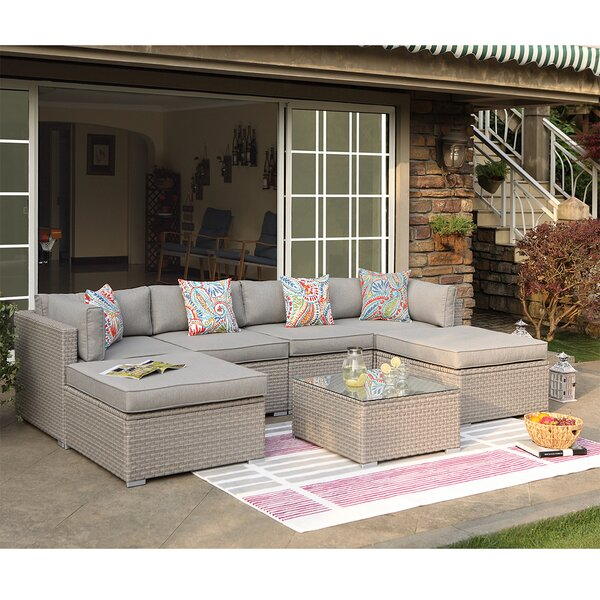 Wrought Studio Rhinegeist 7-Piece Outdoor Furniture Warm Gray .