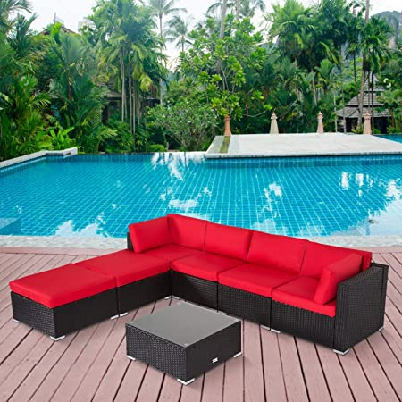 Amazon.com: 7PC Outdoor Sectional Sofa Set Rattan Wicker Patio .