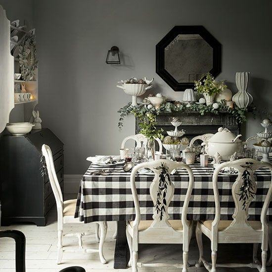 Black and white Christmas dining room | Black, white dining room .