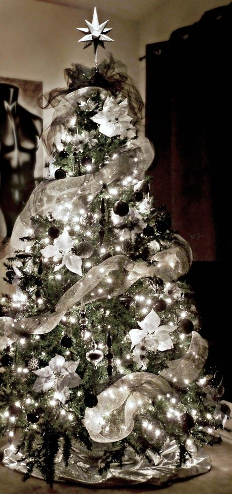 Black, white, silver, and gray Christmas Tree. | Silver christmas .