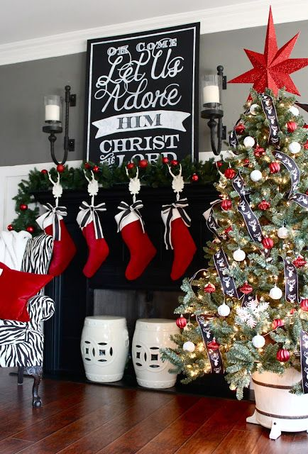 2015 Holiday House Tour | Christmas mantel decorations, Red .