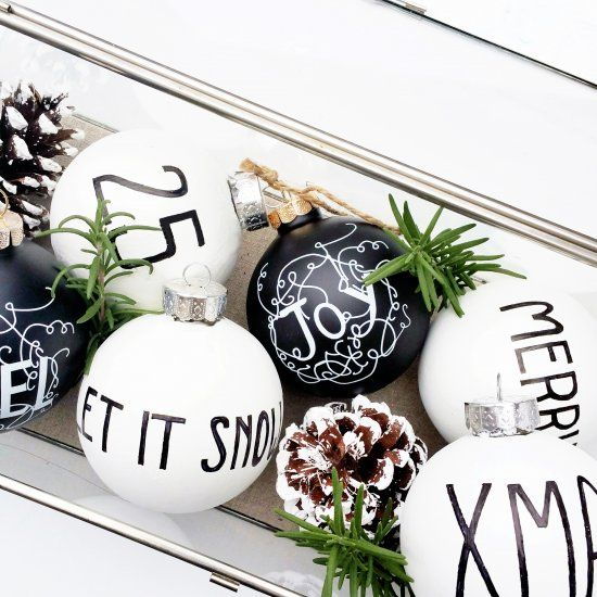 Simple steps to create your own modern black and white Christmas .