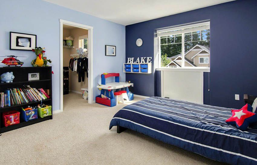 Accent Wall Colors (Design Guide) | Boys bedroom colors, Blue .