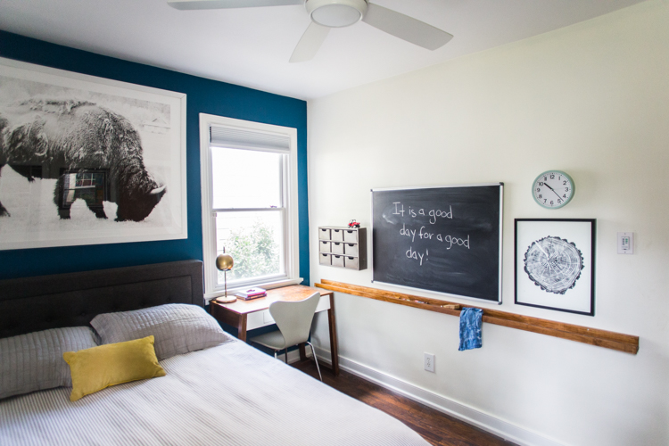 Grown-Up Kids Bedroom With A Blue Accent Wall - Live Free Creative