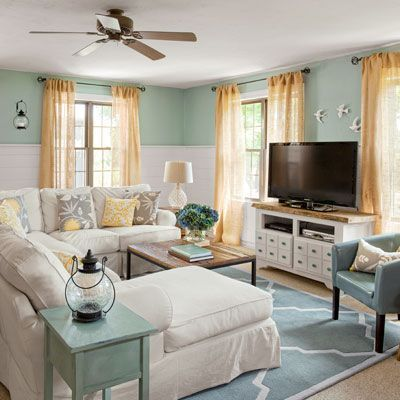 Coastal Cottage family room {before & after} | Cottage living .