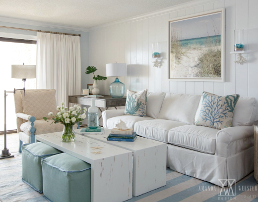 Breezy Condo Living Room Beach Cottage Style | Shop the Look .