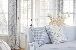 Blue and White Seaside Cottage | Blue, white living room, French .