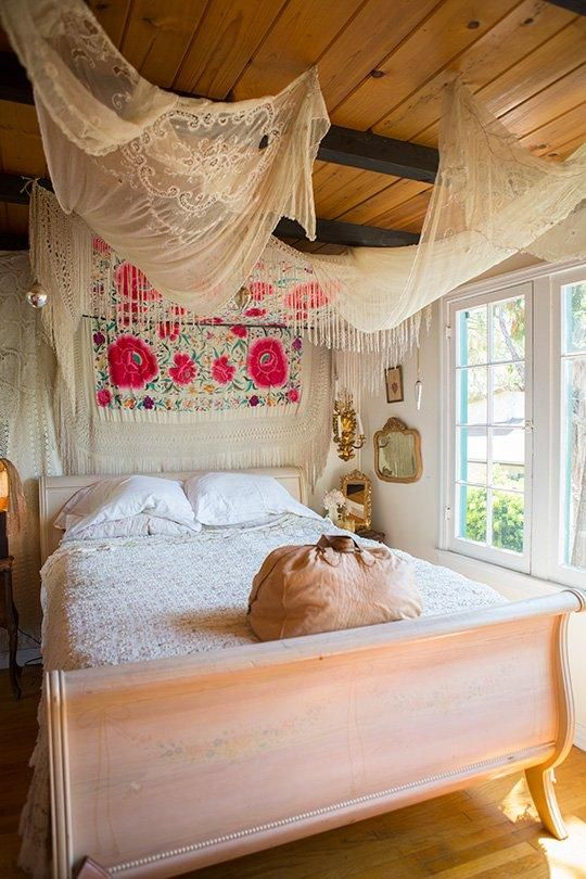 Vanessa's Vintage Bohemian Hilltop Home | Bohemian style bedrooms .