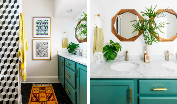 Vintage Bathroom Decor With Bold Colors and Geometric Shap