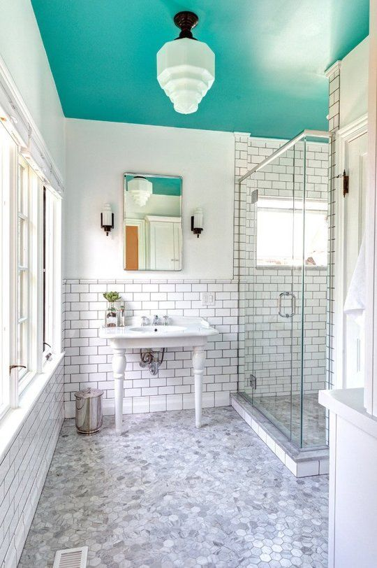 Dip a Toe Into Bold Color: Painted Ceilings in the Bathroom .