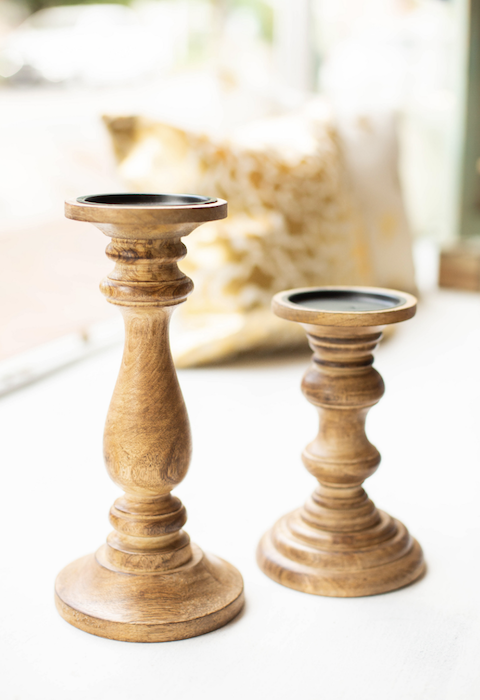 Natural Wood Candle Stick - Bought Beautiful