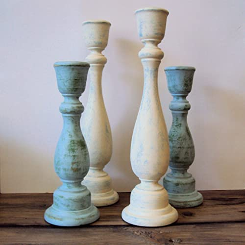 Amazon.com: Shabby Cottage Chic Wooden Candlesticks - Rustic Chic .