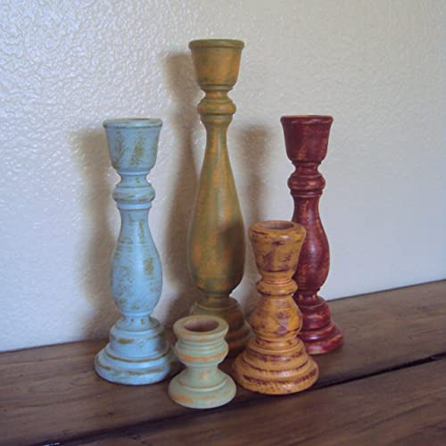 Amazon.com: Shabby Distressed Wooden Candlestick Set - Rustic Wood .
