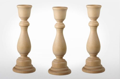 Unfinished Wood Candlesticks - California Dowel & Turnings, In