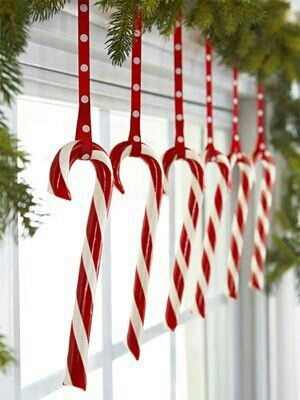 Hang candy canes in kitchen window for an easy and joyous .