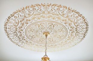 Ceiling Stencil Medallion. Elegant classical stencils for home dec