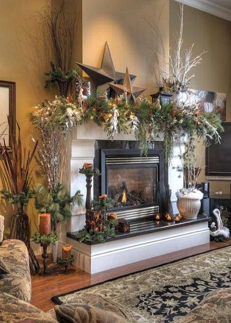 pinterest christmas decorating ideas | Winter Fireplace Mante .