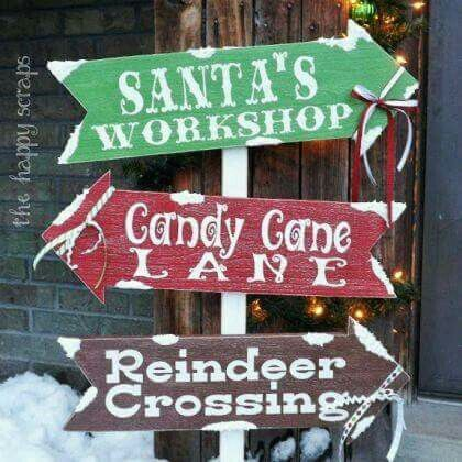 Xmas road signs | Outdoor christmas decorations, Christmas .