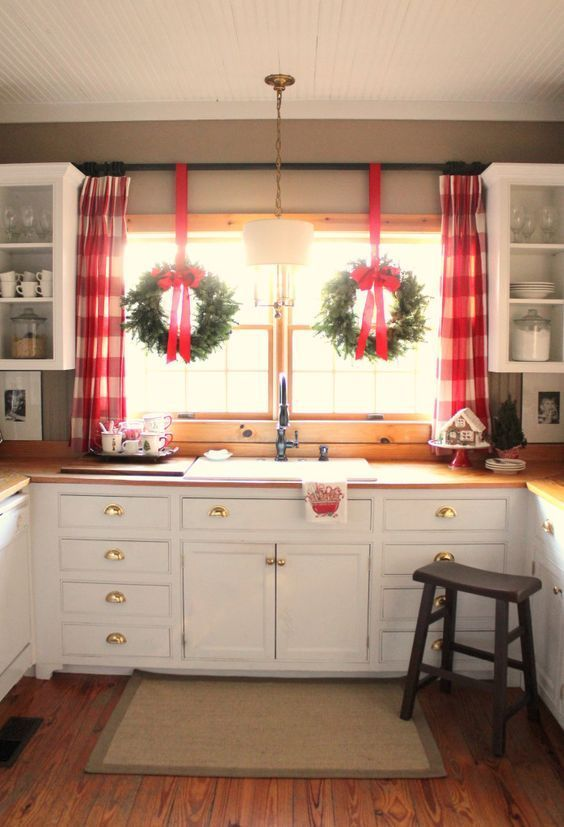 large-red-plaid-curtains | Christmas window decorations, Christmas .