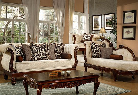 Windsor Cream Living Room Sofa and Chaise Furniture Set, Wood Trim .
