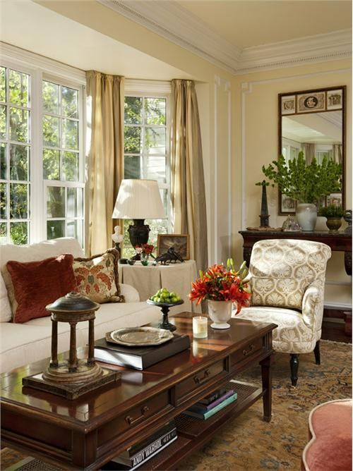Traditional (Victorian, Colonial) Living Room by Timothy Corrigan .