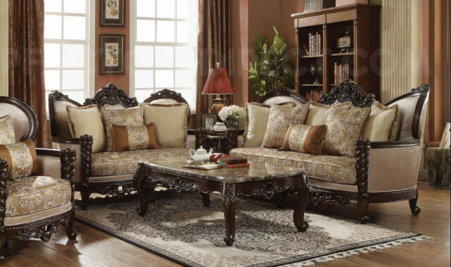 New Classic Victorian Carved Antique Style Luxury Living Room .