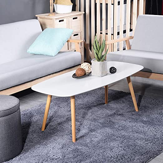 Amazon.com: GreenForest Coffee Table Modern Oval Cocktail Center .