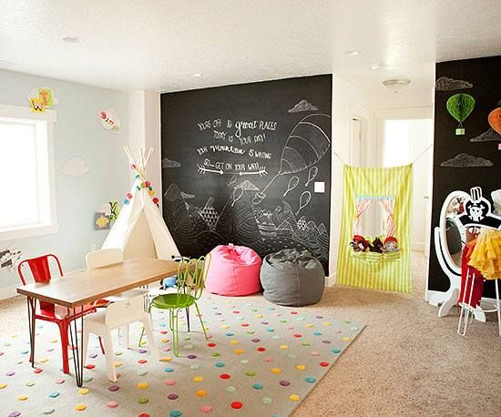 Playroom idea! Chalk walls and bright colors with natural light .