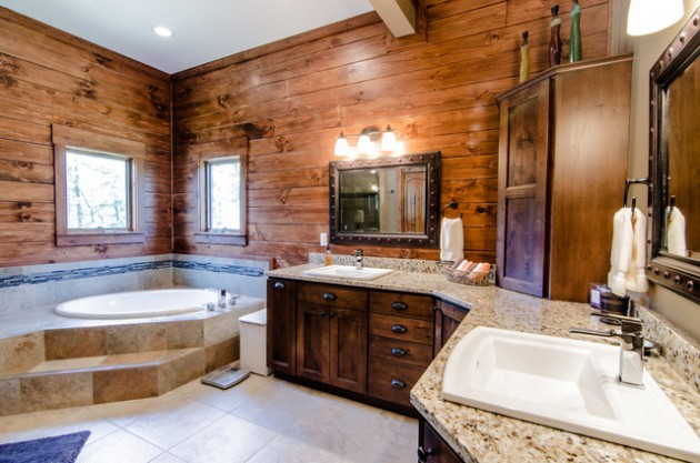 17 Amazing Rustic Bath Designs That Will Make You Feel Comfortab