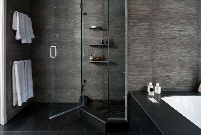shower area of Contemporary Bathroom with Natural Elements - The .