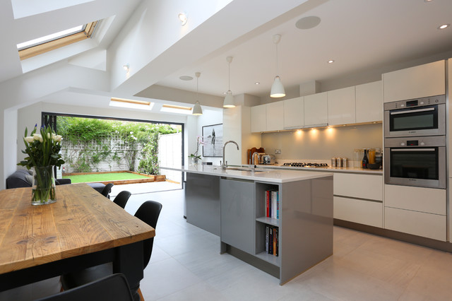Stylist, contemporary kitchen extension in terraced Tooting .