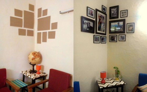 Picture collage as wall corner | Frames on wall, Corner wall, Wall .