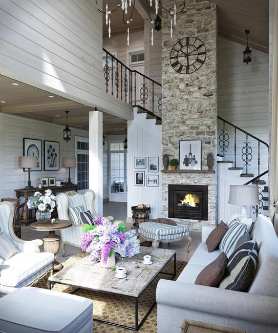 Comfortable Family Home Design, Cottage Decor in Neutral Colors .