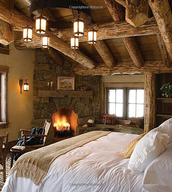 Rustic Elegance in this Mountain Cabin Master Bedroom with cozy .