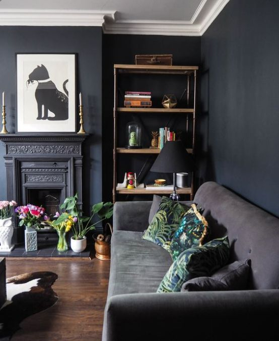 Charismatic Dark Living Room Design Ideas with Their Magic Spell .