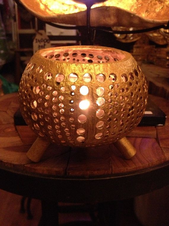 Candle holder golden coat carving coconut shell handmade natural .
