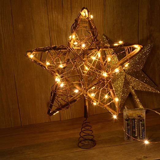 Amazon.com: Awinking Christmas Star Tree Topper with 30 LED Warm .