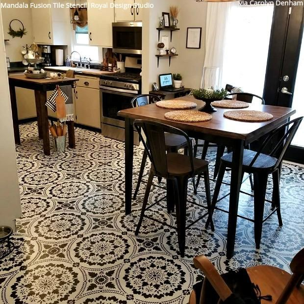 Insanely Gorgeous Kitchens with Tile Floor Stencils | Diy wall .
