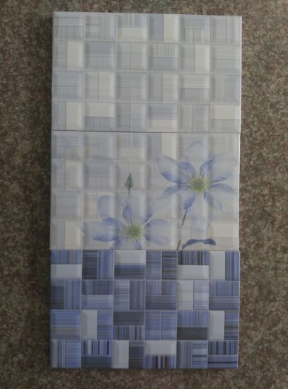 China Elegant Blue Color Line Texture Mosaic Pattern Look Ceramic .