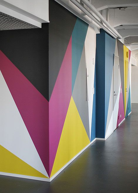 Colorful walls #geometric | Wall design, Geometric wa