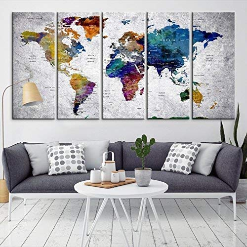 Amazon.com: Modern Large Abstract Rainbow Colorful Wall Art World .