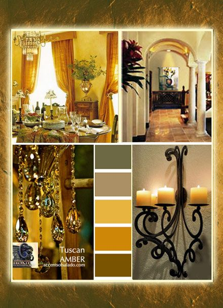 Shades of golden amber are perfect Tuscan decorating colors .