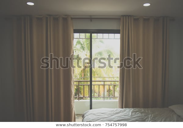 Modern Decorative Curtains Window Curtain Bedroom Stock Photo .