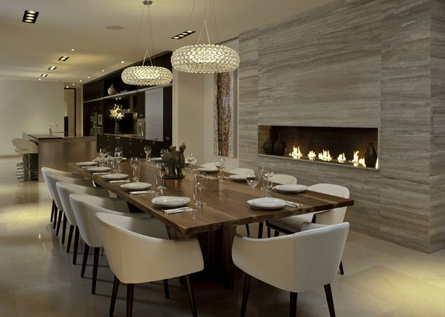 30 Modern Dining Rooms Design Ideas | Dining room fireplace .