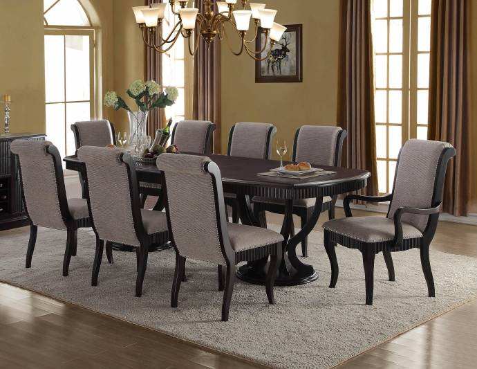 McFerran D1600 Formal Black Finish Grey Fabric Dining Table Set .