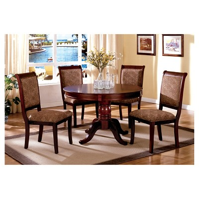 5pc BielsburgRound Pedestal Dining Table Set Red - IoHOMES : Targ