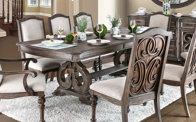 Rustic Dining Table Set | Double Pedestal Dining Tab