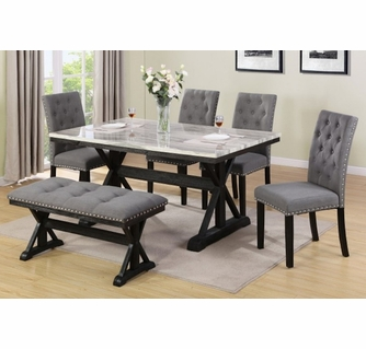Morwen 6-Pc Light Espresso Dining Table Set by Best Quality Furnitu