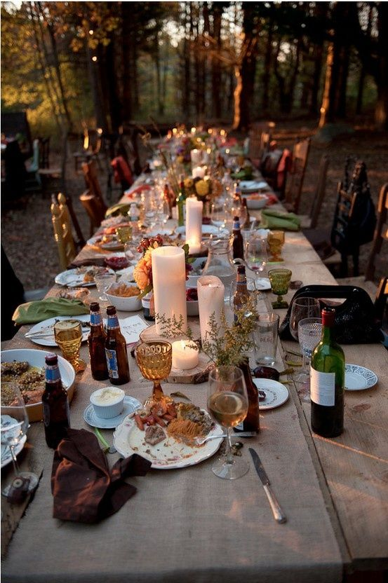 gorgeous bohemian table setting idea......thanksgiving?? | Outdoor .