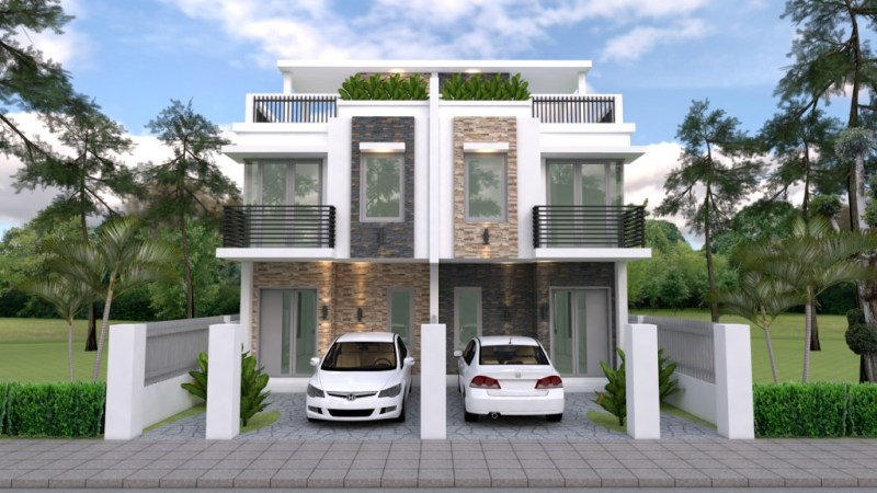 Duplex House Design with 3 Bedrooms - Cool House Concep